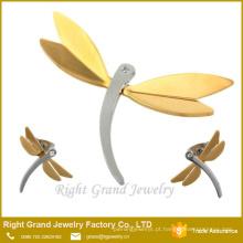 Brincos de aço inoxidável pingente de jóias de ouro libélula atacado conjunto de jóias no mais recente projeto