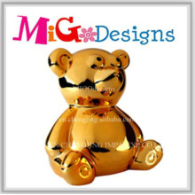 Large Gold Art Ceramic Cute Bear Money Box for Children