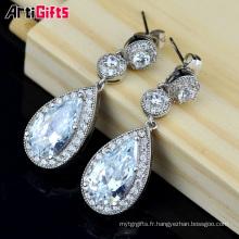 Nouvelle Arrivée À La Mode Style Or Blanc Plaqué Goutte D'eau forme Cubique Zircone Diamant Boucles D'oreilles Pour la Partie