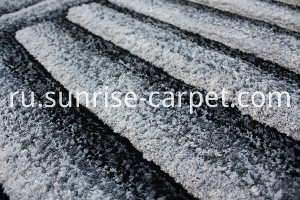 Microfiber Shaggy Rug with Black & Grey Color