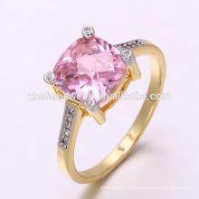 Саудовская золото женщин кольца стерлингового серебра годовщины 925 ювелирных изделий Новый круглой огранки обручальное свадебное кольцо Большой Камень