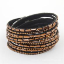 Vente en gros Meilleur cadeau Dernières Bracelets de mode en cristal Wrap Cuir