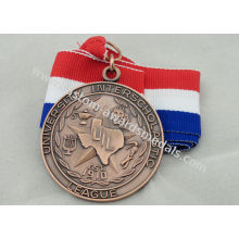 University Ribbon Medals , Die Casting , 3d And Antique Copper Plating For Gift