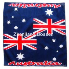 OEM Produce personalizado logotipo bandeira do país impresso cachecol promocional de cabeça de algodão