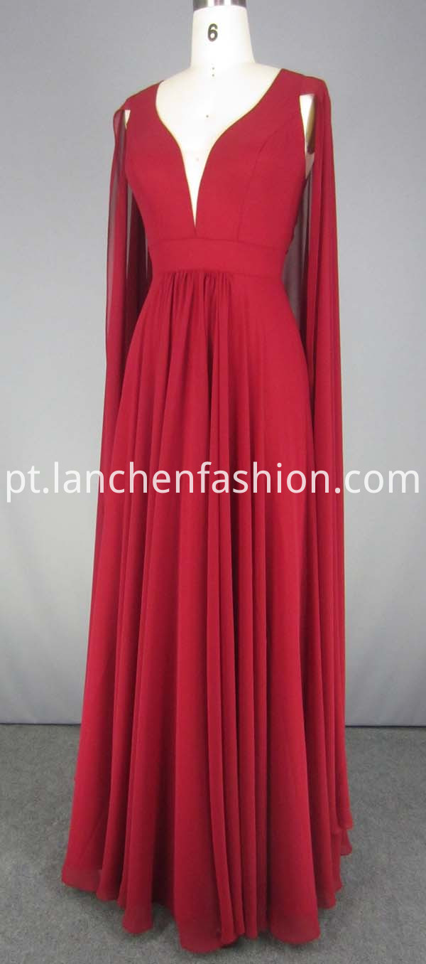 Chiffon Dress With Long Sleeves