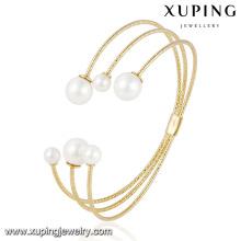 51548 brazalete de imitación de la joyería de la perla chapado en oro simple de moda 18k