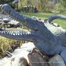 Escultura de crocodilo de bronze de tamanho grande de alta qualidade