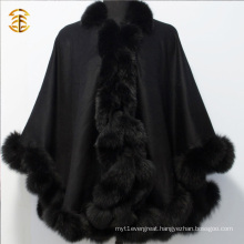 Warm Winter Luxury Cashmere Cape Pashmina With Fluffy Fox Fur Trim Cloak