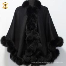 Warm Winter Luxury Cashmere Cape Pashmina com capa de pele de pele fofa fofa