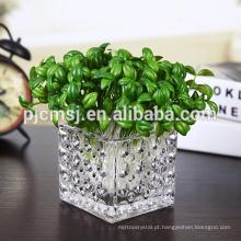 Muitos tamanho claro cubo de vidro quadrado vaso / suporte de candel de vidro de cristal.