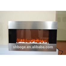 """36"""" stainless steel face decor flame electric fireplace heater"""