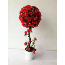 La decoración del hogar de los pequeños bonsais subió la bola de la flor
