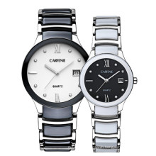 Fashion Casual Quartz Women Wrist Watch Artificial Ceramic Pink Case Bracelet Band Elegant Watches