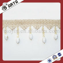 Cream White Beaded Fringe For Curtain Decorative Beaded Cover Tables