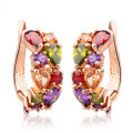 Gold Plated Unique Stud Earrings Multicolor