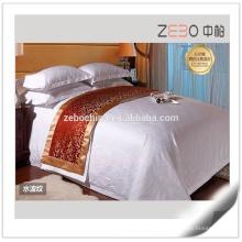 300 Количество ниток Жаккард Белье для гостиницы Современный отель Простыня Белый