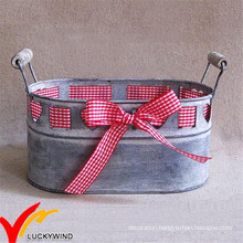 Ribbon Decor Oblong Galvanized Antique Metal Flower Planter