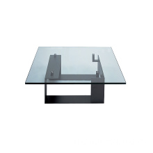 Modern Glass Coffee Table with Metal Base (TT-G01)