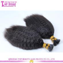 Atacado top quality não transformados i ponta extensão do cabelo kinky em linha reta 100% eu ponta extensão do cabelo brasileiro