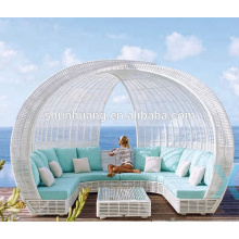 Popular outdoor furniture waterproof patio lounge chaise poly rattan sun bed