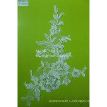 Вышивка бисером кружевной ткани белое свадебное кружевной ткани для новобрачных CMC011B
