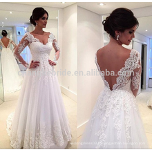 Hot Sale V Neckline Backless Tulle Lace Robe de mariée 2016 Long Sleeve