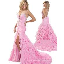 Spaghetti Crossed Straps Chiffon Beauty Pageant Dress Party Dress with Rhinestones RO11-06