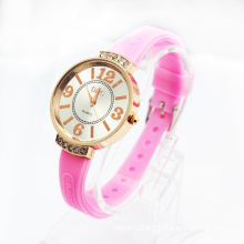 2015 hot sell silicone quartz  diamante watch