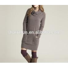 vestido al por mayor de la cachemira de la manera 100% del invierno del cuello alto de la manera del invierno de la fábrica para las mujeres