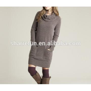 usine en gros hiver mode col roulé 100% pure robe en cachemire pour les femmes
