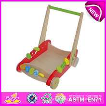 Nouveaux jouets en bois de remorque de style pour des enfants, jouets en bois de remorque de jouet pour des enfants, jouets en bois de remorque bébé poussant le chariot W16e013