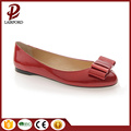 flat PU leather women shoes bow tie