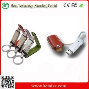 2014 New Leather USB Stick with Key Chain for Hi-Speed Samsung Chip Real Capacity