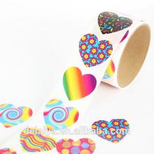 Красочный форме сердца узор бумаги рулон стикер для детей