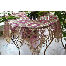 5119 Red Voile Coffee Voile Fabric Lace Table Cloth