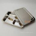 Preço barato de aço inoxidável retangular de três compartimentos dividido almoço placa de alimentos