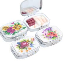 Promoção caixa de comprimidos de metal portátil, Travel Pill Box com 2 casos
