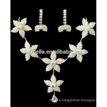 Nueva moda floral de cristal nupcial boda joyería fija las mujeres de lujo collar pendientes para el vestido de fiesta