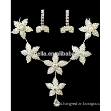 New Fashion Floral Crystal Bridal Wedding Jewelry Sets Women Luxury Necklace Earrings for Party Dress