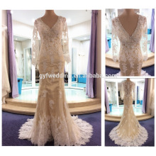 2016 New Sexy Champagne V-Neck Prom Dresses com Beaded Neck Design Long Sleeve Lace Evening Dresses ED010