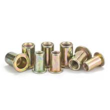 Stock Yellow Color Zinc Plated Rivet Nut Flat Head Blind Rivet Nuts Carbon Steel M3 M4 M5 M6 M8 M10 Insert Rivet Nuts