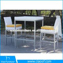 Горячая распродажа Алюминиевый открытый белый ротанга бар мебель