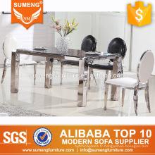 table à manger en marbre noir moderne rectangulaire 4 pieds en acier inoxydable