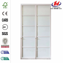 72 in. x 96 in. Tranquility Glass Panels Back Painted White Wood Frame Interior Sliding Door