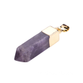 Natural Gemstone Healing Almethyst Pendant Hexagonal Prism with Gold Chain