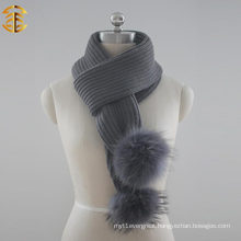 2017 Wholesale Colorful Adult Knitting Scarf with Pompom