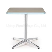(SP-RT503) Mesa de restaurante de madeira laminada base de aço inoxidável moderna Cruz