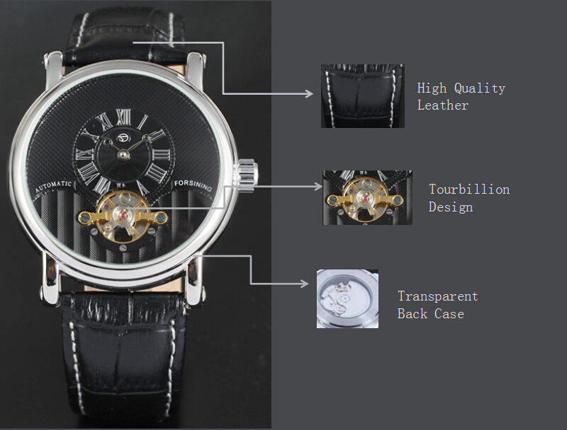 Leather Belt Mechanical Custom Mens Wrist Watch