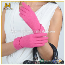 Pink color glove winter ladies party wearing wool gloves sixe girl wool mittens