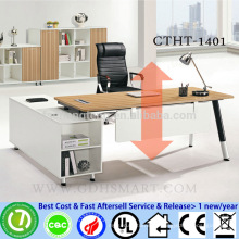 manual screw height adjustable plastic table with plastic cup cover on the feet